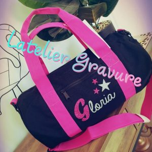 Grand sac polochon Noir & rose