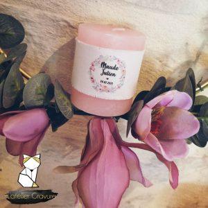 10 Bougies personnalisées mariage couronne de fleurs