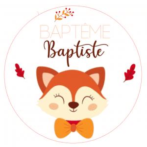 Etiquettes cercle Baptême à personnaliser