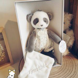 Pantin Panda mouchoir Doudou et compagnie à personnalisé