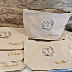 Trousse personnalisée pour mariage et evjf, cadeau invités demoiselles d'honneurs