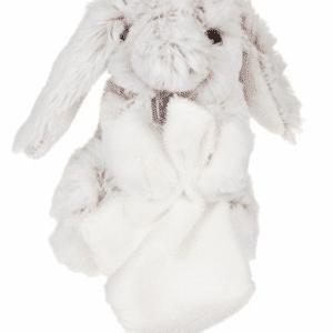 Peluche lapin avec doudou gris et blanc brodé