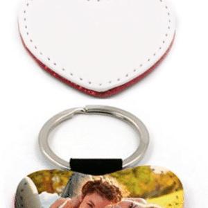 Porte clés simili cuir et paillettes coeur personnalisé avec photo