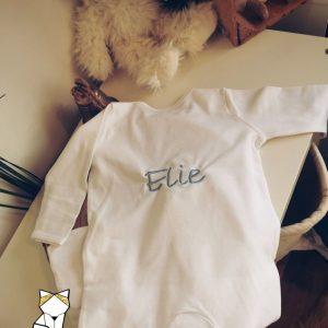 Pyjama bébé blanc 0 à 12 mois personnalisé – Broderie prénom