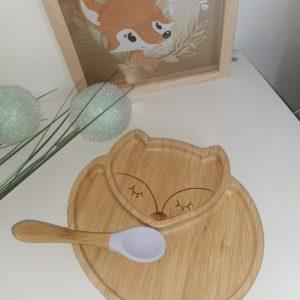 Assiette en bambou renard Personnalisé au prénom