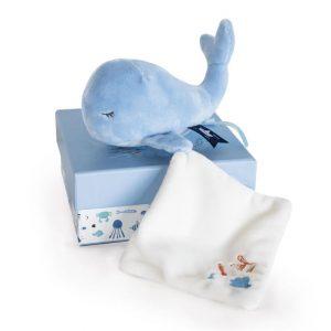 Doudou peluche baleine bleu ou tortue personnalisée