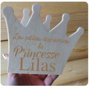 Tirelire couronne de princesse gravée